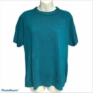 Evan-Picone XL dark teal short sleeve sweater